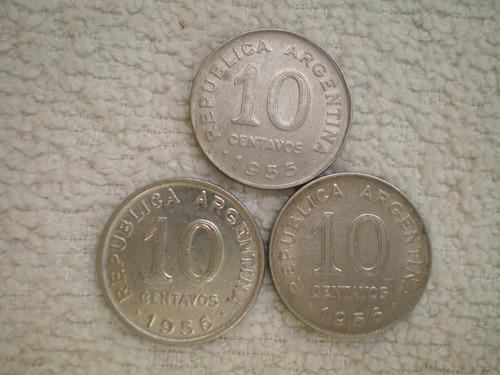 argentina moneda 10 centavos canto liso 1955-1956 km#51 c/u