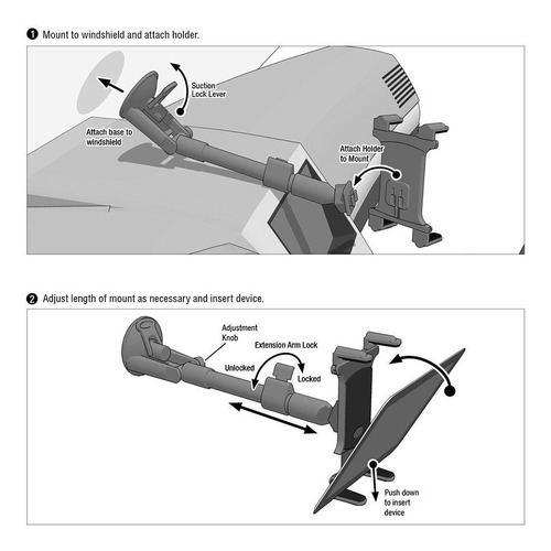 arkon large tablet long arm windshield suction mount for