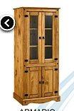 armario cristalero en madera para living