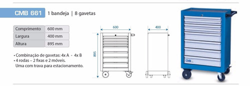 armario p/ taller 8 cajónes 600x400x895mm cmb661 g p