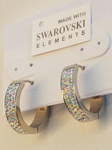 aros hechos con cristales swarovski con certificado nuevos