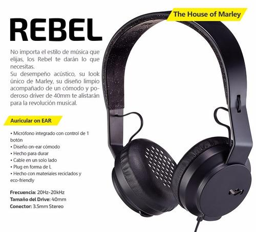 auriculares vincha house of marley rebel roar on ear oferta