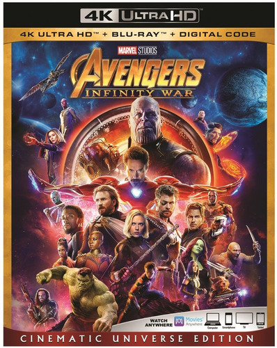 avengers infinity war - 4k + blu-ray + digital hd - original