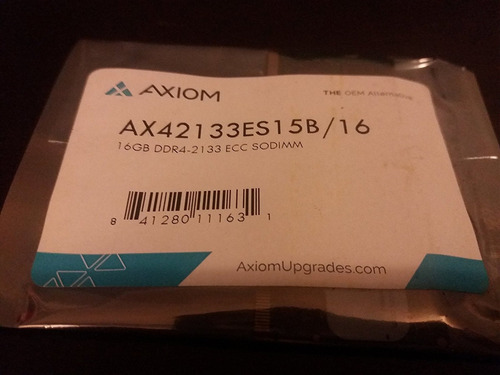 axiom 16gb ddr4 2133 ecc sodimm ax42133es15b 16