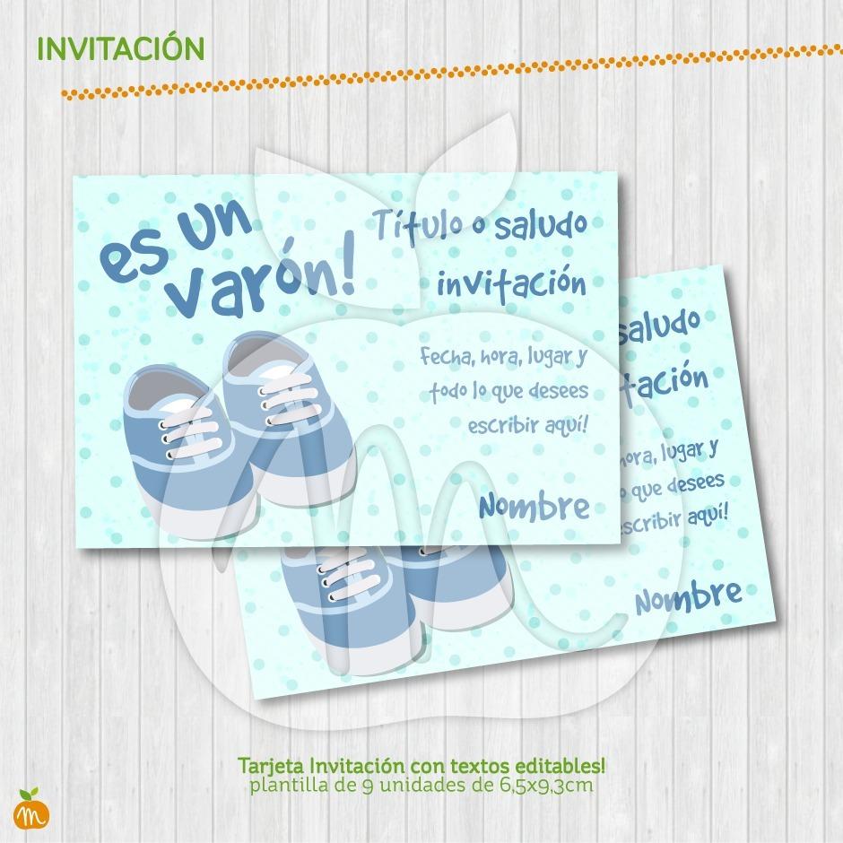 Baby Shower Celeste Tarjeta Invitación Textos Editables