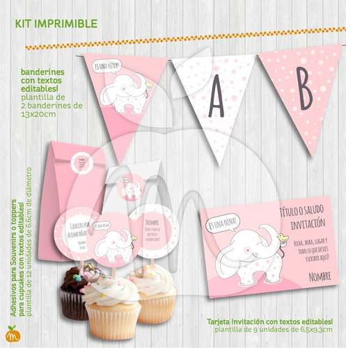 baby shower elefanta rosa kit imprimible textos editables
