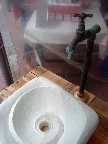 bacha cuadrada artesanal con espiral formasdeagua