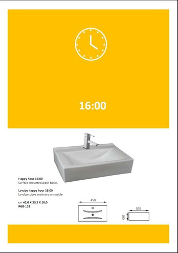bacha de apoyo losa: modelo happy hour 16:00
