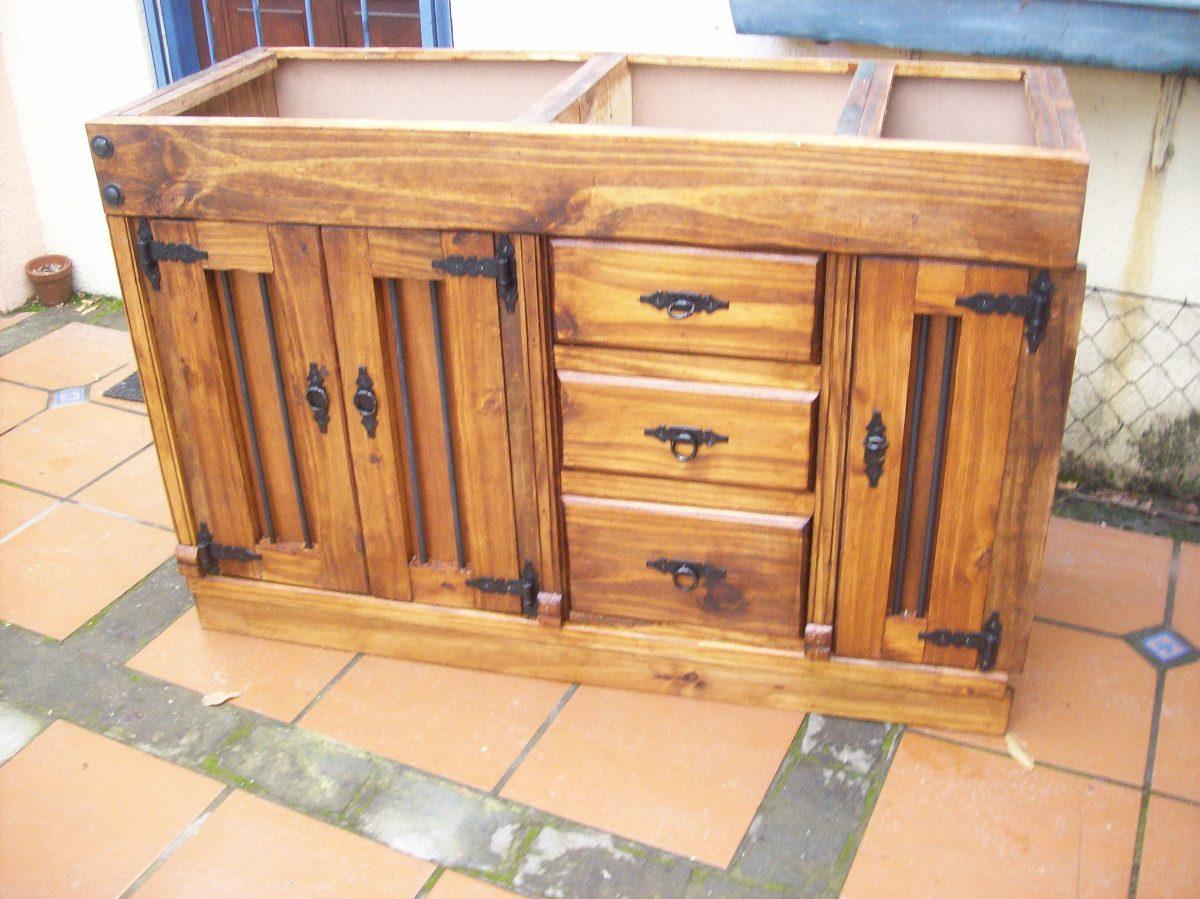 Bajo mesada de cocina rustica artesanal en for Muebles bajo barra de cocina