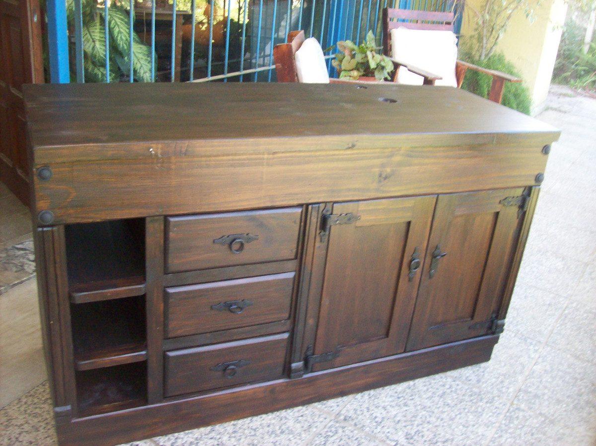 Bajomesada madera maciza rustico ptas caj estantes for Muebles madera maciza uruguay