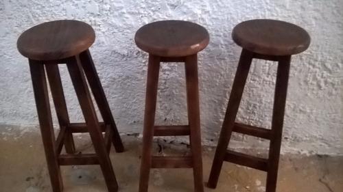 banco alto madera rusticos solidos bar pub etc