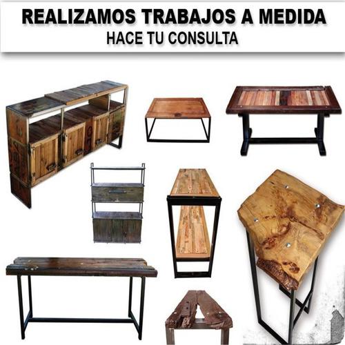 banco banqueta estilo industrial de hierro y madera rusticas