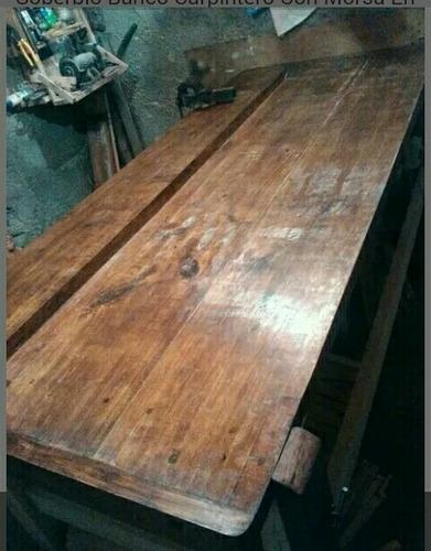 banco de carpintero con morsa en lapacho y fosa