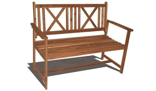 banco de dos cuerpos en madera de acacia para jardin