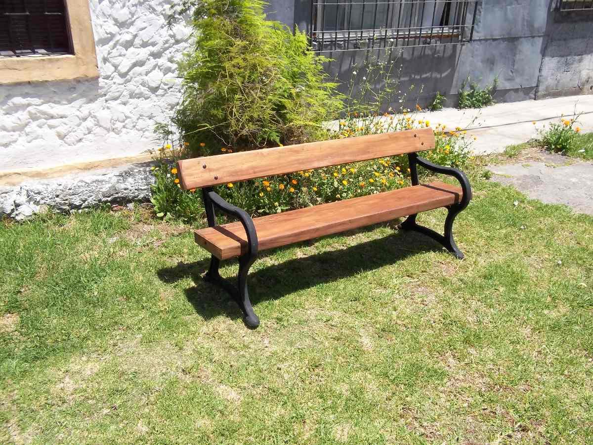 Banco de hierro fundido y madera para jardin en mercado libre - Bancos de hierro para jardin ...
