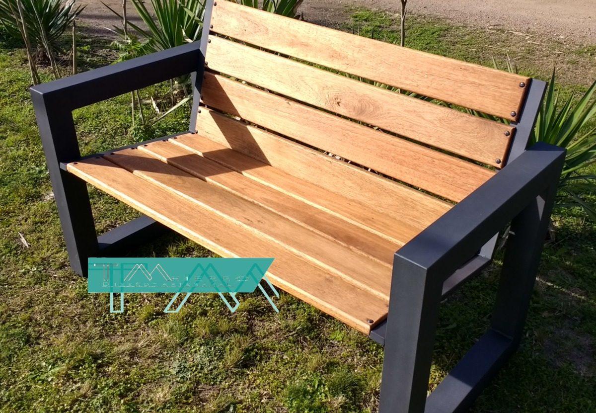 Banco jardin plaza mesa sillon exterior hierro y madera en mercado libre - Bancos para exterior de jardin ...
