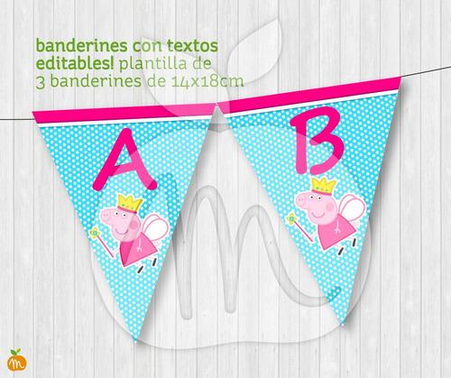 banderines cumpleaños baby showers peppa pig princess