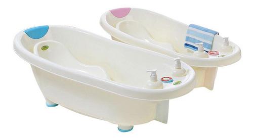 bañito bebes rosa con soporte, dispensador y termómetro
