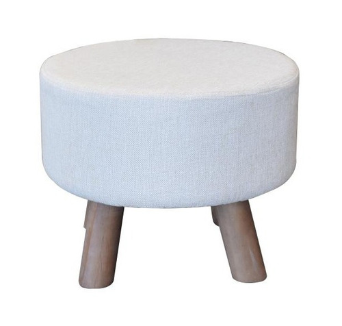 banqueta baja beige tapizada, cerámicas castro