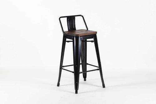 banqueta bar con respaldo tolix metal  asiento madera