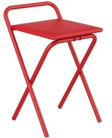 banqueta silla tapizada roja cromada cocina plegable