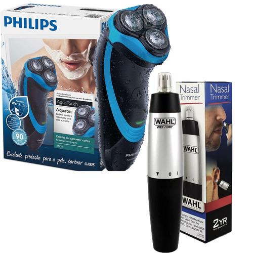 barbeador eletrico philips at756 com aparador nasal wahl