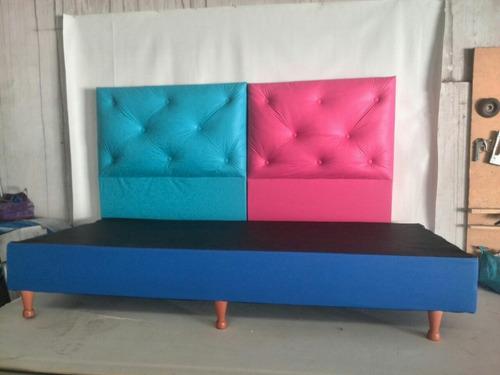 base somier box cama 1 plaza eco cuero