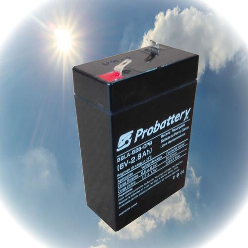 batería gel 6 v. 2.8 ah. probattery, ciclo profundo