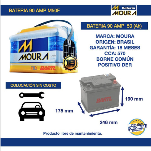 bateria moura 90 amp  garantía 18 m 50ah alfombra de regalo