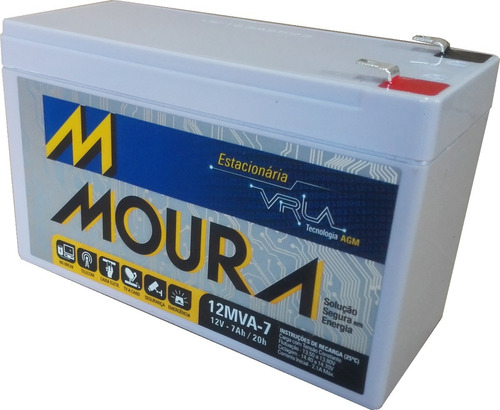 batería vrla agm 12 v. 7 ah, moura ciclo profundo