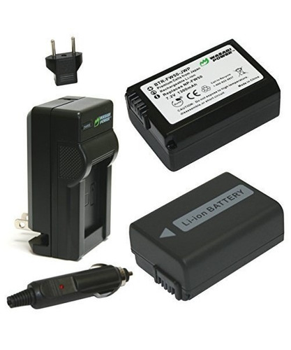 batería wasabi power (paquete de 2) y cargador para sony