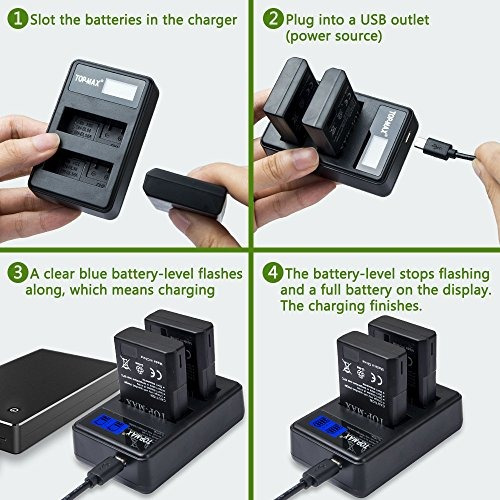 batería y cargador pantalla led para nikon d3200 d3100 d3400