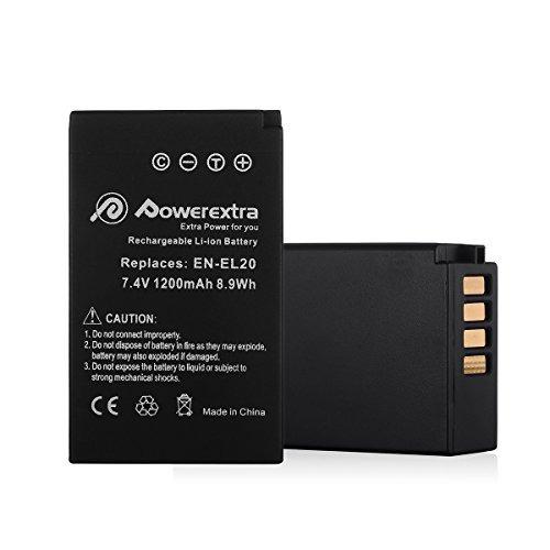 batería y cargador powerextra p/nikon en-el20, en-el20a, 2u.