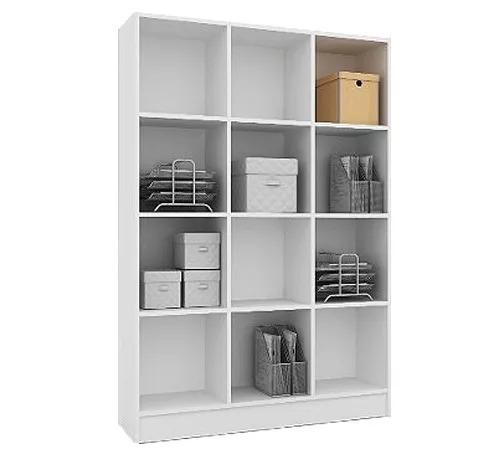 biblioteca estanteria multiuso blanco castaño cubos firme
