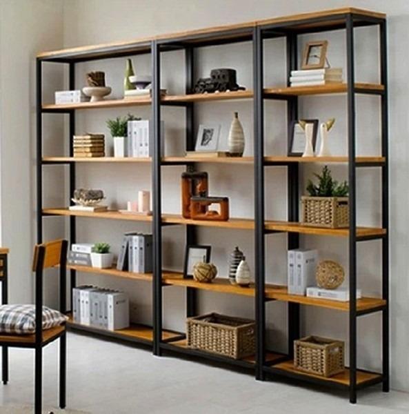 Bibliotecas Rusticas En Hierro Y Madera Dividi Tus Ambientes - Bibliotecas-de-madera