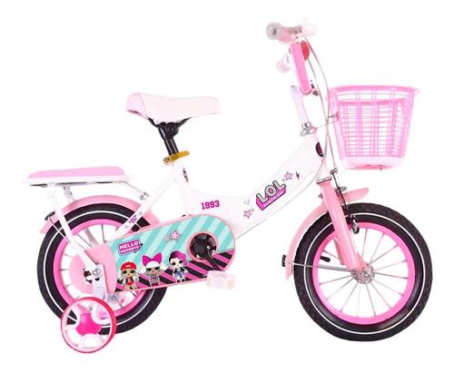 bicicleta lol rod 16 c/ canasto + rueditas armadas - el rey