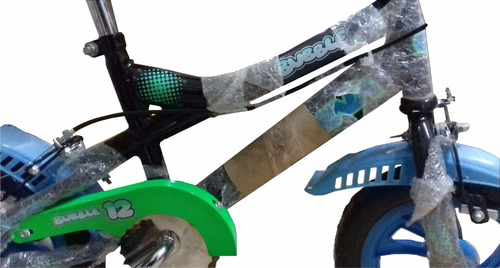 bicicleta ondina bubble roda. 12 negro c/verde/azul el cerro