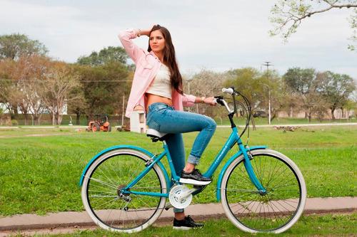 bicicleta paseo topmega lady r28 18v mujer vintage celeste