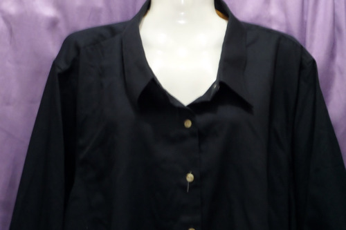 blusa camisa manga 3/4 negra 5 xl especial grande