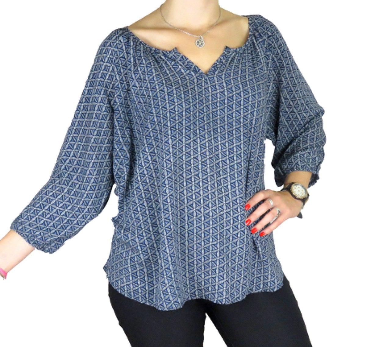7ade20605 Blusa Para Dama Azul Con Flores Estampada Talle Xl ® -   990