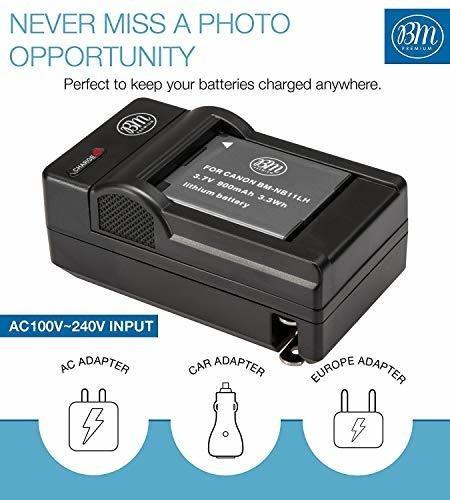 bm premium 2 paquetes de nb-11l, nb-11lh baterias y kit de c