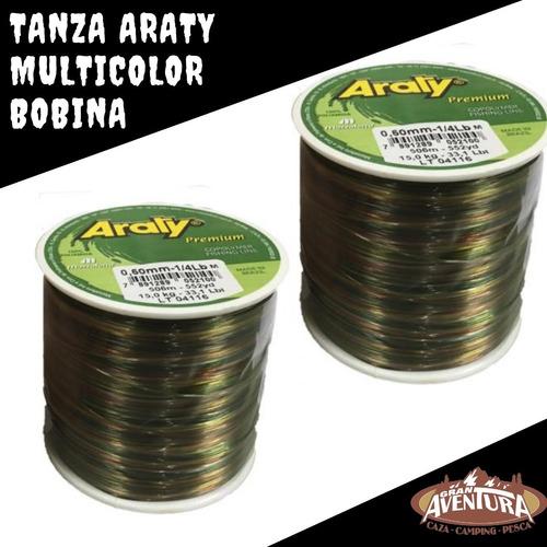 bobina tanza nylon monofilamento araty 0.45 mm multicolor