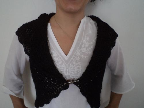 bolero tejido a mano al crochet con hilo de seda