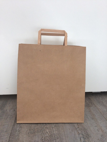 bolsa de papel lisa color marrón ideal comidas fuelle amplio