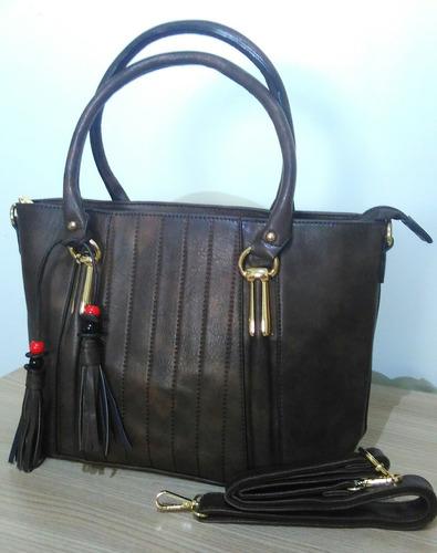 bolsa feminina gloria w & y em couro sintético marrom