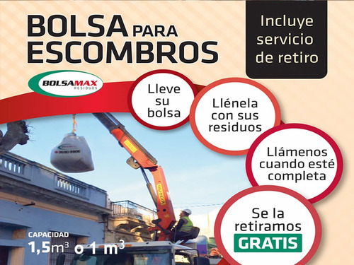 bolsas para escombros  1 m3  residuos con retiro gratis