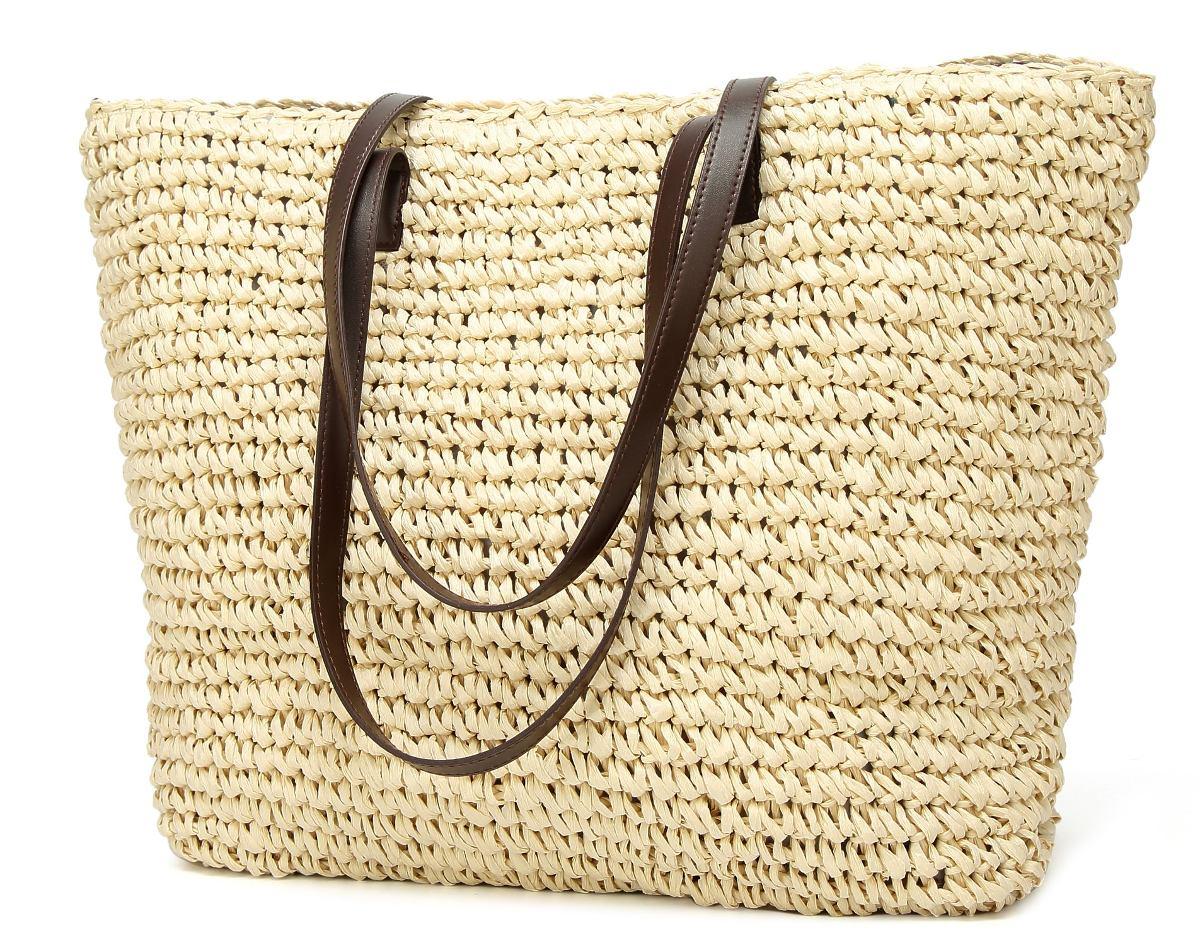 ca97f391b24 Cargando zoom... clásico bolso de paja verano playa mar bolso bolso grande
