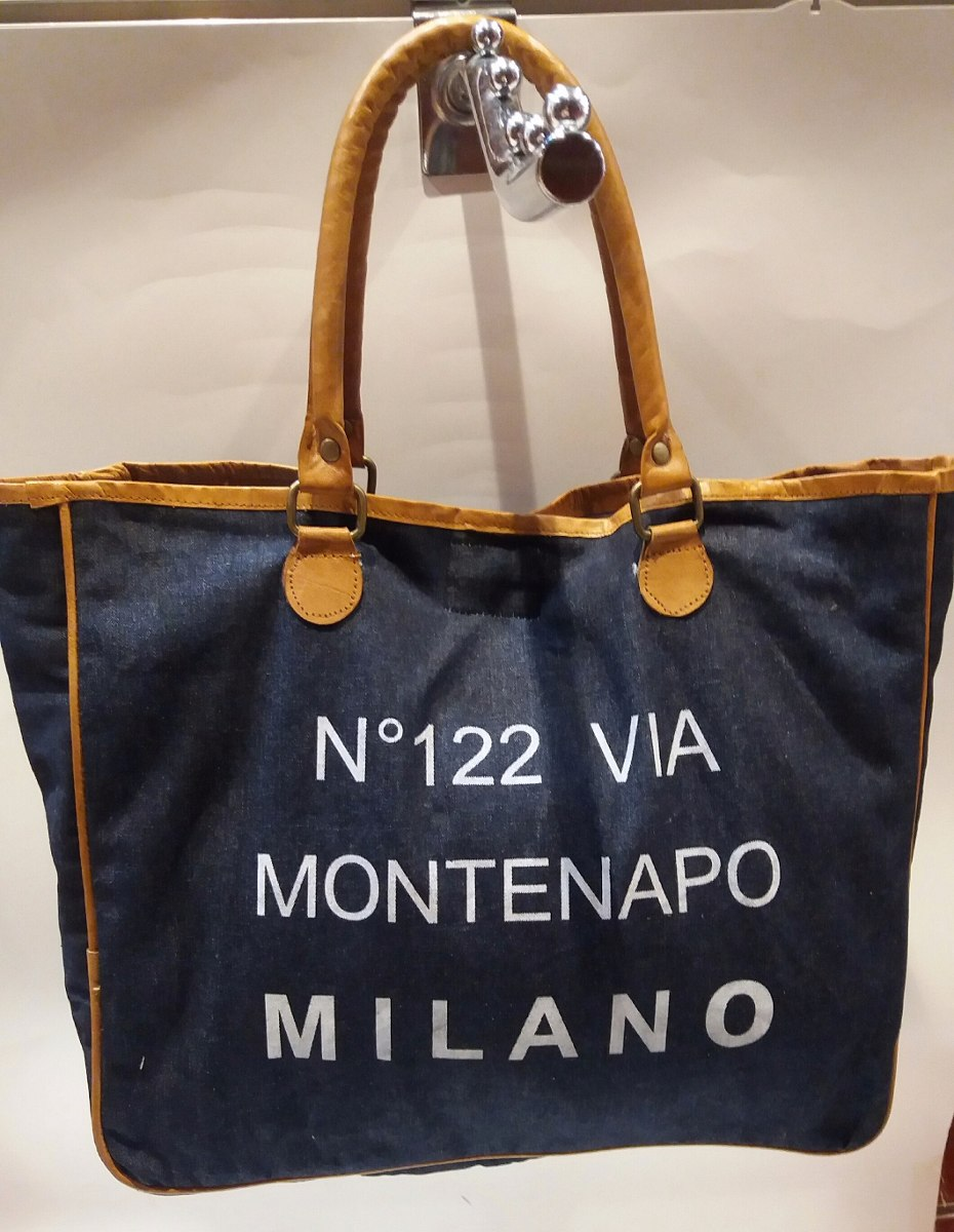 16b999f10 Bolso De Lona Mujer Grande Azul Jean. - $ 490,00 en Mercado Libre