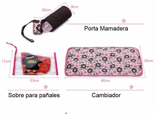 bolso maternal 5 piezas alta calidad / zona mvd shopping
