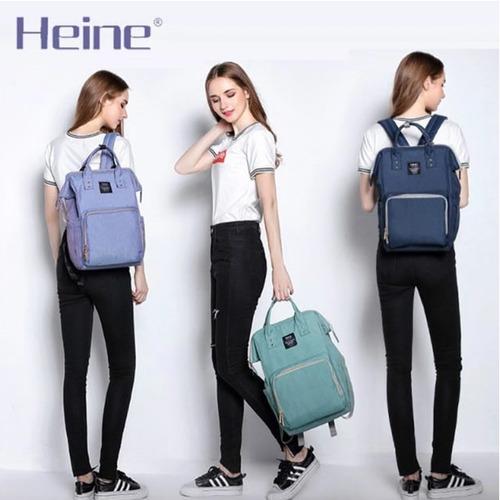 bolso mochila maternal heine original con cambiador - eml
